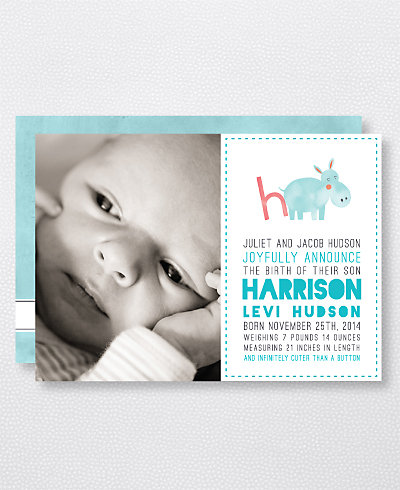H is for Hippo (Boy) Birth Announcement