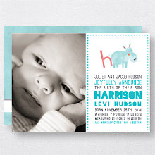 H is for Hippo (Boy): Birth Announcement