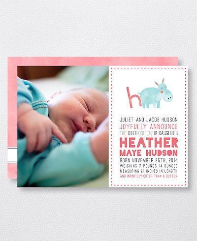 H is for Hippo (Girl) Birth Announcement