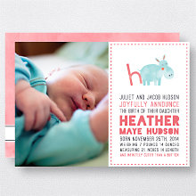 H is for Hippo (Girl): Birth Announcement