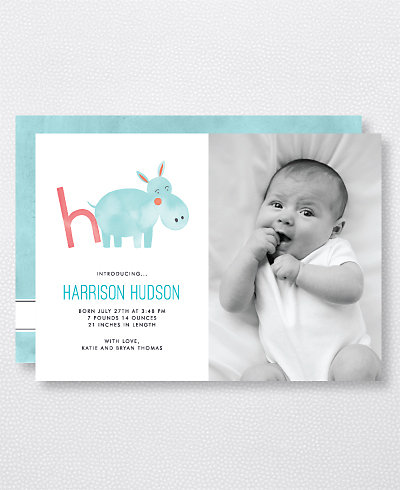 H is for Hippo (Modern) Birth Announcement