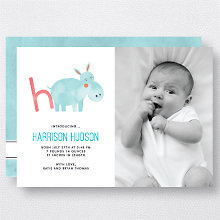 H is for Hippo (Modern): Birth Announcement