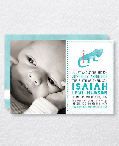I is for Iguana (Boy) Birth Announcement