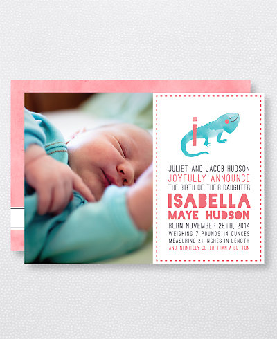 I is for Iguana (Girl) Birth Announcement