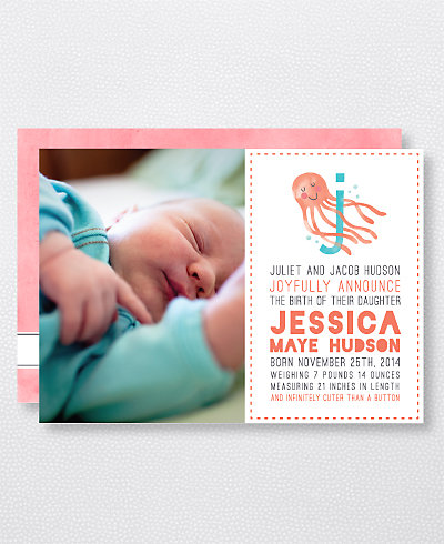 J is for Jellyfish (Girl) Birth Announcement