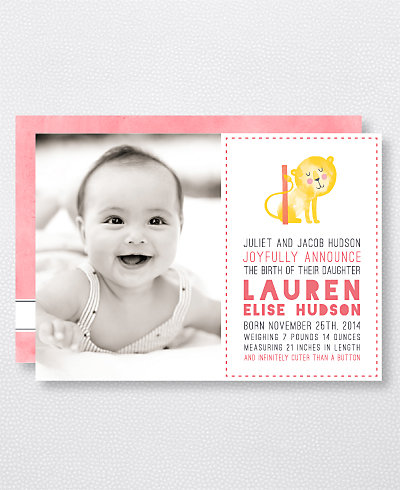 L is for Lion (Girl) Birth Announcement