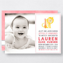 L is for Lion (Girl): Birth Announcement