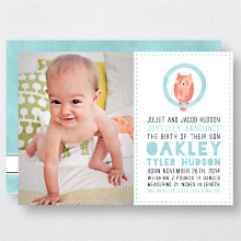 O is for Owl (Boy): Birth Announcement