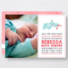 R is for Rhinoceros (Girl): Birth Announcement