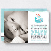 W is for Whale (Boy): Birth Announcement