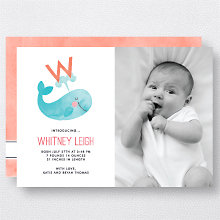 W is for Whale (Modern): Birth Announcement