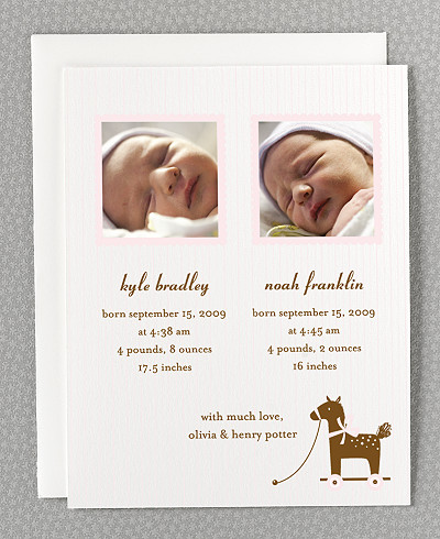 Horsie Twin Birth Announcement