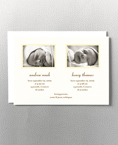 Scallop Frame Twin Birth Announcement