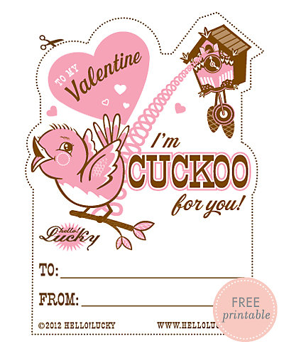 Cuckoo for You---Free Printable Valentine's Card