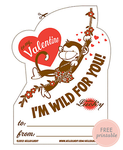 Jungle Love---Free Printable Valentine's Card