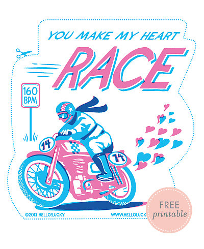 Racing Heart---Free Printable Valentine's Card