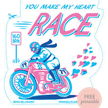 Racing Heart: Free Printable Valentine\'s Card