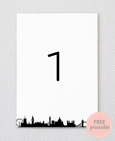 London Skyline---DIY Table Numbers