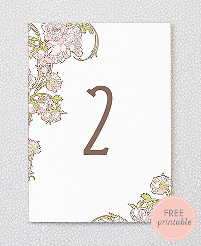 Nouveau Peonies---DIY Table Numbers