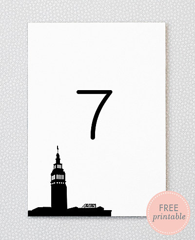 San Francisco Skyline---DIY Table Numbers