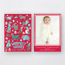 Animal Sweaters Red (Portrait): Holiday Photo Card
