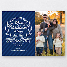 Calligraphy Badge (Blue): Holiday Photo Card