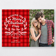 Calligraphy Badge (Red): Holiday Photo Card