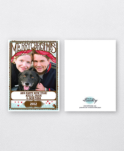 Cut Paper Christmas Holiday Photo Card