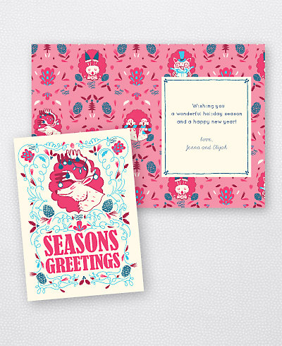 Deer Fuchsia Folded Holiday Card