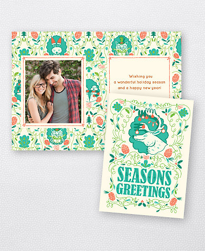 Deer Turquoise Folded Holiday Photo Card