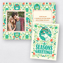 Deer Turquoise: Folded Holiday Photo Card