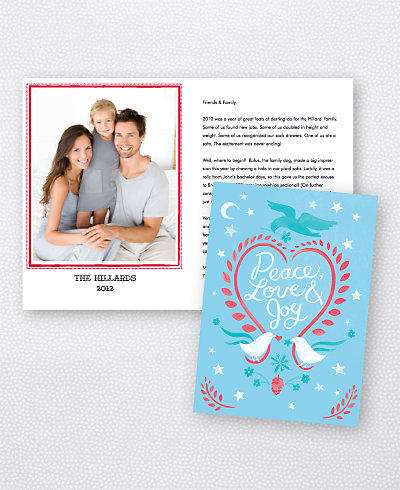 Doves Blue Folded Holiday Photo Card