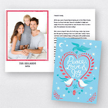 Doves Blue: Folded Holiday Photo Card