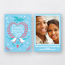 Doves Blue: Holiday Photo Card