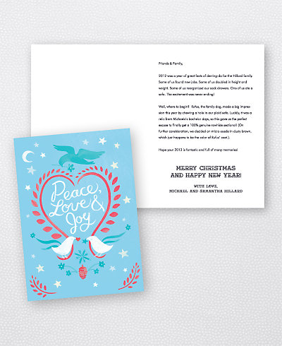 Doves Blue Folded Holiday Card