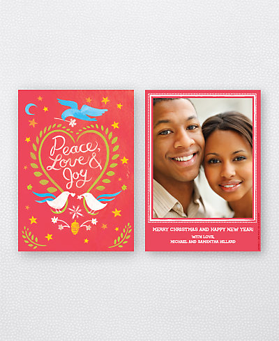 Doves Red Holiday Photo Card