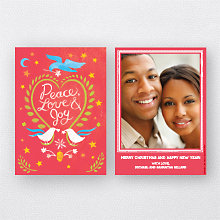 Doves Red: Holiday Photo Card