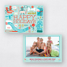 Gifts Galore Blue: Holiday Photo Card