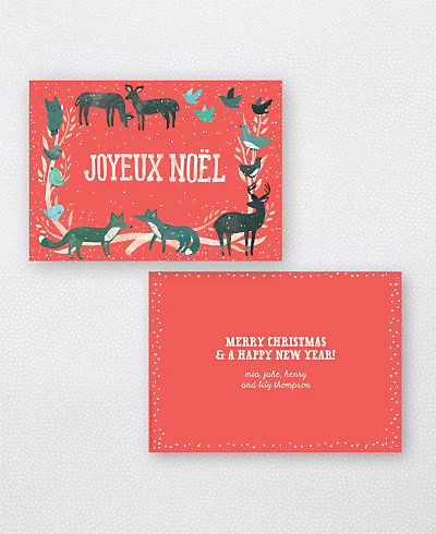 Joyeux Noel Red Flat Holiday Card (no photo)