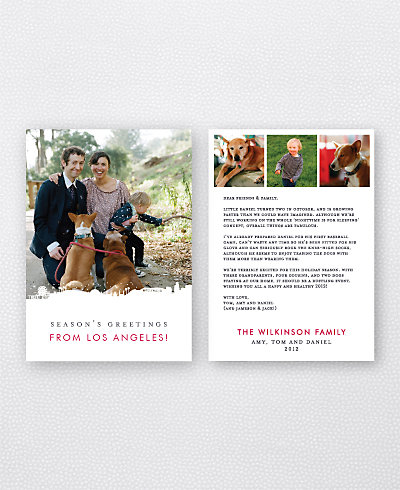 Los Angeles Skyline Folded Holiday Photo Card