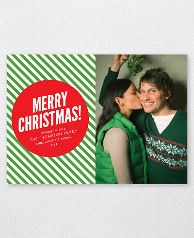 Merry Christmas Stripes Holiday Photo Card