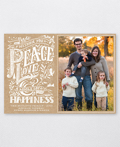 Peace, Love and Happiness Holiday Photo Card