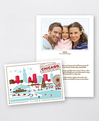 Greetings from Chicago Folded Holiday Photo Card