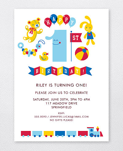 1st Birthday Kids Party Invitation