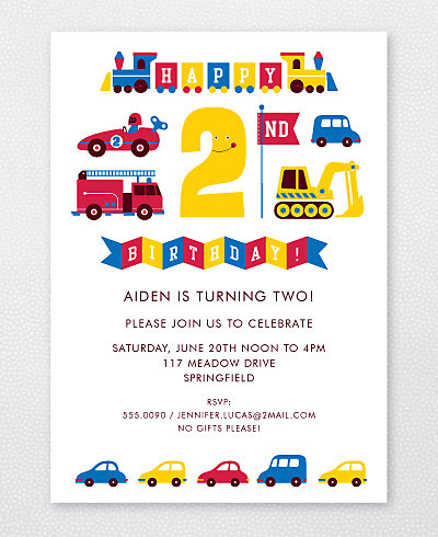2nd Birthday (Boy) Kids Party Invitation