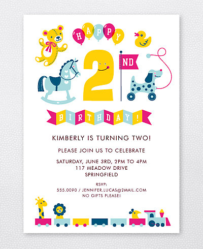 2nd Birthday (Girl) Kids Party Invitation