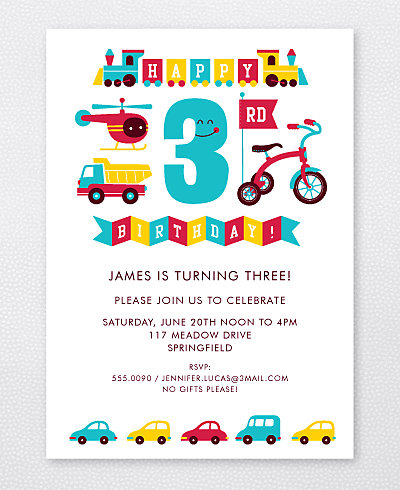 3rd Birthday (Boy) Kids Party Invitation