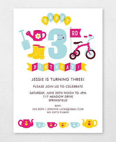 3rd Birthday (Girl) Kids Party Invitation