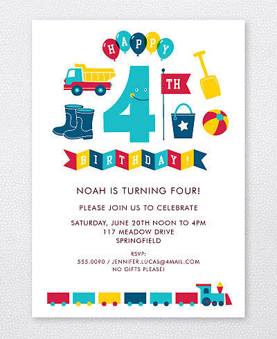4th Birthday (Boy) Kids Party Invitation