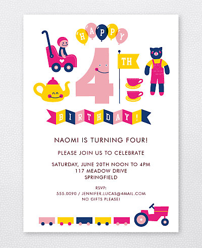 4th Birthday (Girl) Kids Party Invitation